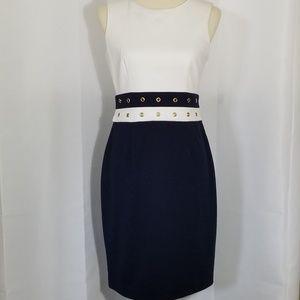 Ellen Tracy Navy & Cream Business Dress Size 4
